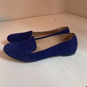 Lands End polka dot suede smoking flats 10
